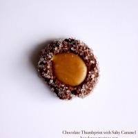 Chocolate Thumbprint with Salty Caramel